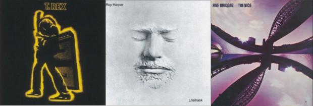 Radovi nastali kasnih šezdesetih i ranih sedamdesetih: 'Electric Warrior' T. Rexa, 'Lifemask' Roy Harpera, te 'Five Bridges' sastava The Nice