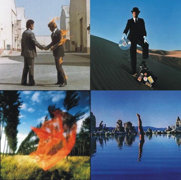 Motivi sa vanskog i unutarnjeg 'sleevea' albuma 'Wish You Were Here' Pink Floyda. Svaka slika simbolizira jednu od četiri skladbe sa albuma, kao i jedan klasični element (vatra, zemlja, zrak i voda)