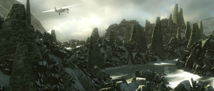 Umjetnička vizija neobičnih geometrijskih oblika gradova Velikih starih (bogova) u Lovecraftovoj noveli 'At the Mountains of Madness'
