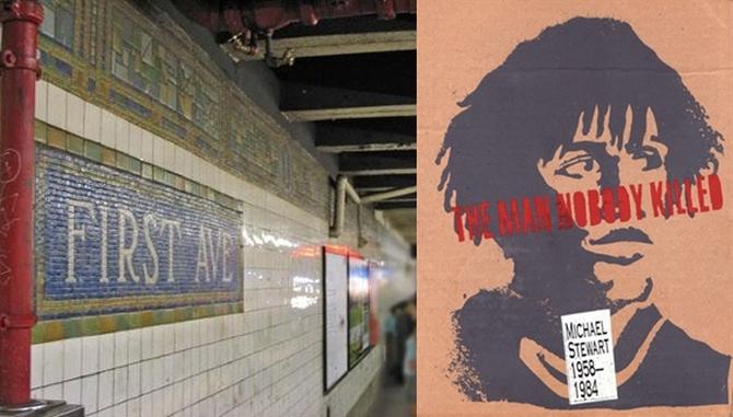Memorijalni mural za grafitera Michaela Stewarta, žrtvu policijskog nasilja, te lokacija na kojoj je uhićen - postaja Subwayja na križanju Prve avenije i Četrnaeste ulice