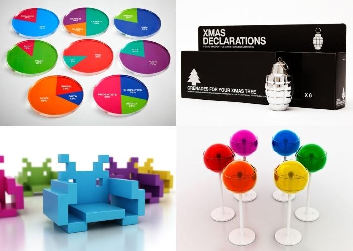 Neki od produkata studija Dorothy: podmetači za čaše u formi statističkih torti, baloni za bor uobličeni kao ručne bombe, stolice izvedene kao trodimenzionalni napadači iz igre Space Invaders, te podne 'lollypop' lampe