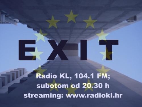 Najavna slika za euroeXit, emisiju koja je emitirana 22.01.2012, uoči EU referenduma. Motiv Kovačićeve stambene novogradnje u ulici Dinka Šimunovića je vremenom postao neka vrsta vizualnog simbola emisije, između ostalog i zbog stiliziranog slova X, nepoznanice, ali i ključnog fonema u izrazu eXit!