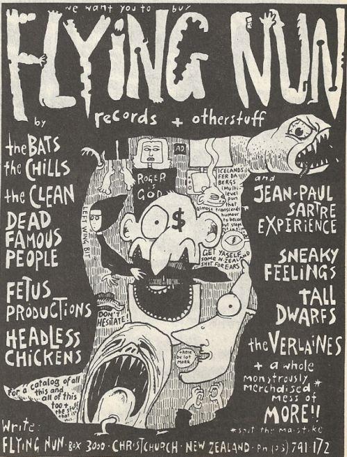 Jedan od promotivnih plakata nezavisne kompanije Flying Nun Records. Grafičko rješenje je djelo Chrisa Knoxa (Enemy, Toy Love, Tall Dwarfs)