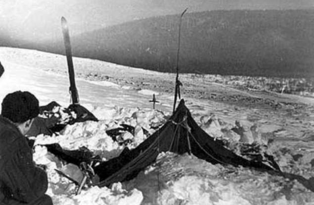 Šator snimljen 26. veljače 1959., na dan kad su spasitelji konačno locirali mjesto tragedije.