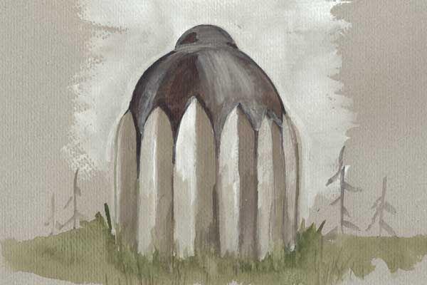 """""""Nakon što se tama razišla, nomadi su svjedočili nevjerojatnom prizoru – nad sprženom se zemljom uzdigla ogromna struktura nalik na toranj koja je blještala na dnevnoj svjetlosti, no nije joj blo moguće prići zbog razrovanog tla i prodornog mirisa."""""""