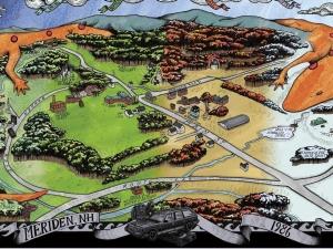 Mapa gradića Meridiena, onako kako ga Will pamti iz ranih osamdesetih. Kliknite na sliku za detaljniji prikaz.