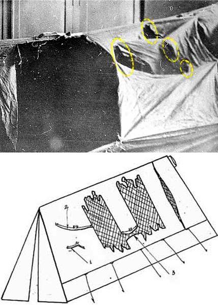 Rezovi na bočnim stranama šatora su izvedeni iznutra, što upućuje na panični bijeg prisutnih.