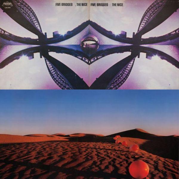 Oblikovanje omota 'Five Bridges' potpisuje Storm Thorgerson iz studija Hipgnosis, koji je odgovoran i za dizajn albuma 'Elegy', labuđeg pjeva The Nicea koji u glazbenom smislu baš i ne nudi previše, no spašava ga iznimni omot
