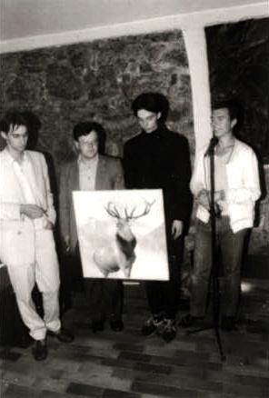 Prva inkarnacija Laibacha: Srečko Bajda, Tomaž Hostnik, Dejan Knez i Andrej Lupinc. Fotografija najvjerojatnije datira iz jeseni 1982.