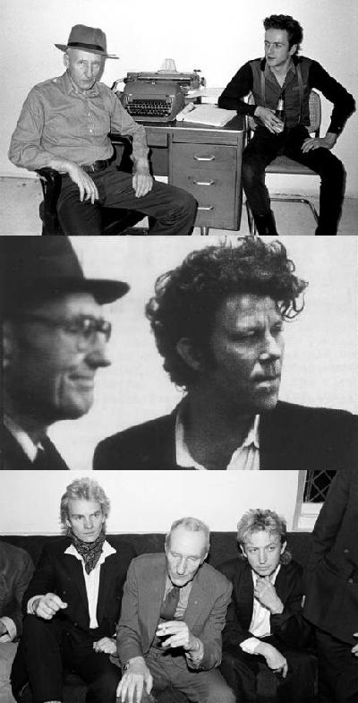 S štovateljima iz glazbenog miljea: Bill Burroughs s Joe Strummeorm, Tomom Waitsom, te Stingom i Andyjem Summersom