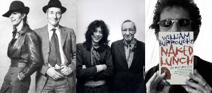 Štovatelji iz glazbenog miljea: Bill s Davidom Bowieom i Jimmy Pageom, te Lou Reed s svojim primjerkom Golog ručka