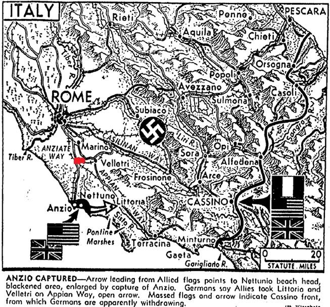 Mapa prikazuje središnju Italiju (regije Lazio, Umbria, Marche, Abrzzzo i Campagna). Položaj područja gradića Aprilia je pojačan crvenom bojom.