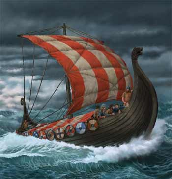 viking ship in water