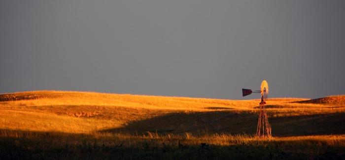 golden light windmill