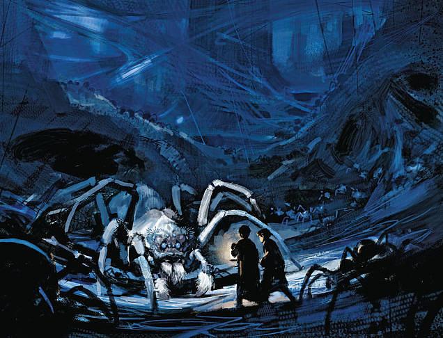Harry i Ron pored pauka Aragoga u Zabranjenoj šumi