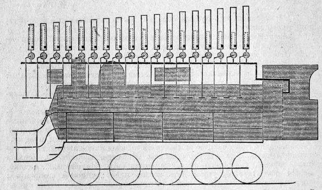 Lokomotiva s posebno dizajniranim ventilima za izvođenje Internacionale i Marseljeze (nacrt)