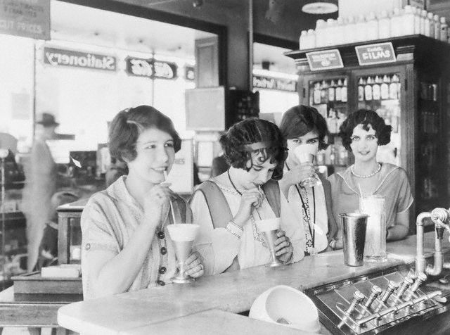 Flappers Drinking Milk Shakes