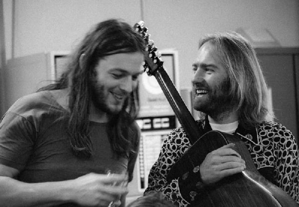 Roy Harper i David Gilmour u studijima Abbey Road, u vrijeme rada na albumima Wish You Were Here i HQ