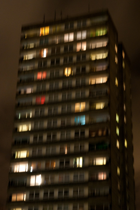 Tower Block in Warwick Estate at night: Greetings from Westway!