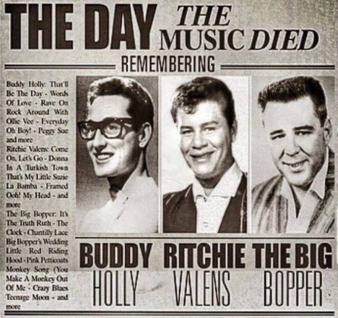 """""""Dan kada je umrla glazba"""": prve tri žrtve zrakoplovnih nesreća u rock domeni."""