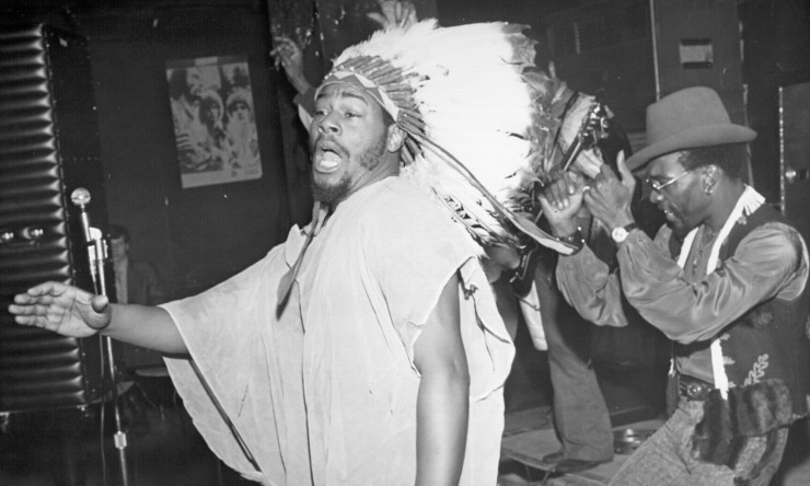 "NEW YORK, NY - 1969: Band leader George Clinton of the funk band ""Parliament-Funkadelic"" performs onstage at Ungano's Night Club in 1969 in New York City, New York. (Photo by Michael Ochs Archives/Getty Images)"