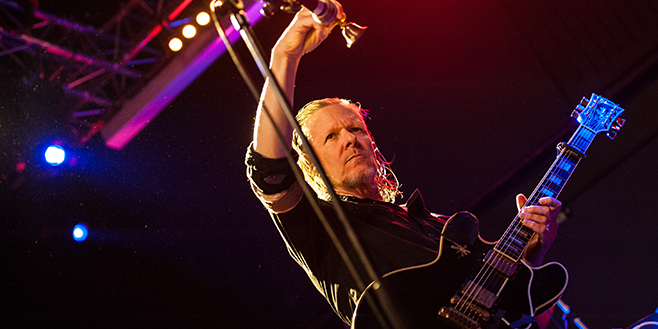 GLASGOW, SCOTLAND - MAY 23: Michael Gira of Swans performs on stage at Glasgow Art School on May 23, 2015 in Glasgow, United Kingdom (Photo by Roberto Ricciuti/Redferns via Getty Images)